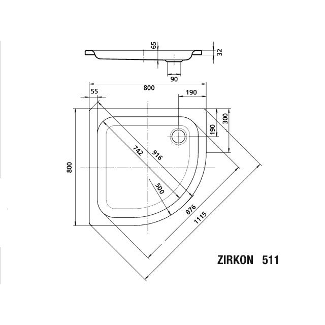 Dw Zirkon Mod511 1800x800x65 Ihr Sanitärinstallateur Aus